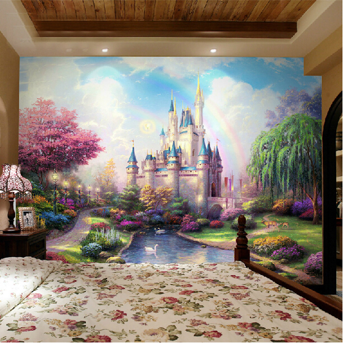 Continental mural bedroom living room tv backdrop for Fairy castle mural