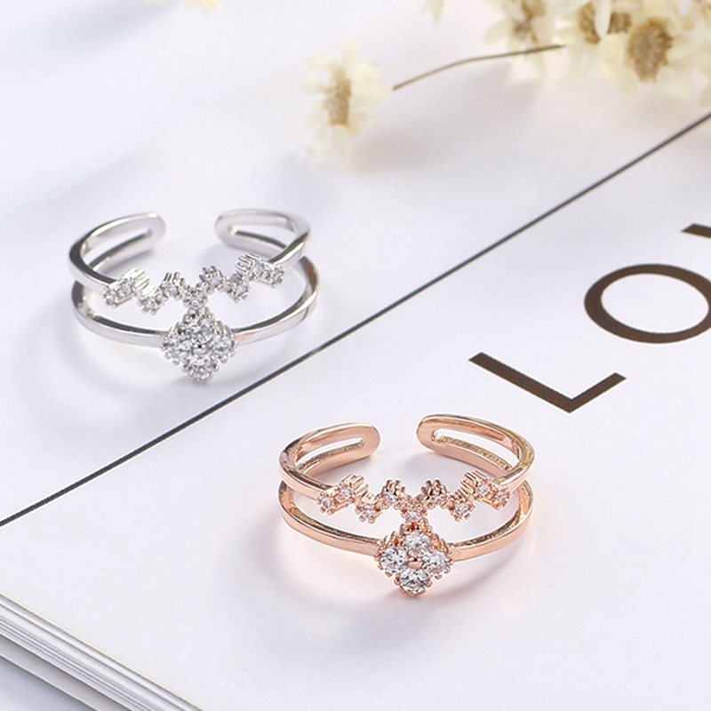 2018 New Style Four Leaf Clover Style Rhinestones Micro Setting Double Rows Lady Finger Ring Wholesale