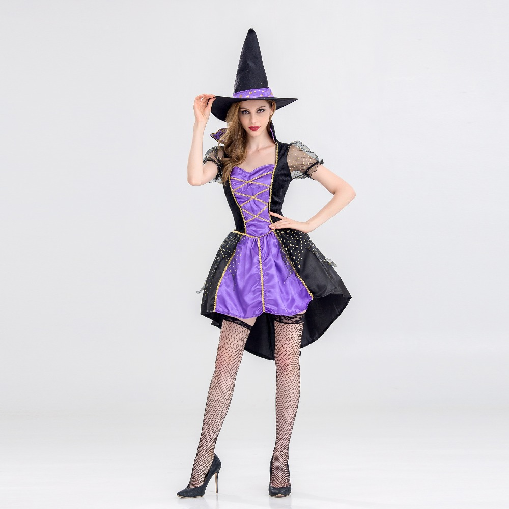 VASHEJIANG Witch Costume Halloween Party Wizards Costume Women Sexy Swallow Tail Braces magician Performances Fancy Dress+Hat