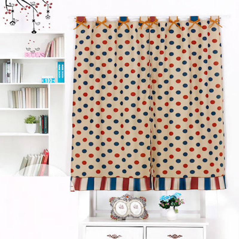 Short Custom Made Rod Pocket Shade Window Curtain for Kitchen Red Blue Dot 130 x 80 100 120 150cm 170 x 120 160cm 100 x 180cm