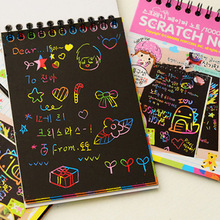 1 Book 10 Sheets Kids Painting Set Scratch Paper Colorful Magic Art With Drawing Stick Baby Playing Toys
