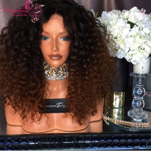 7A Brazilian virgin human hair Kinky Curly Full Lace Wigs 180% Density Lace Front Wigs curly glueless full wig for black women