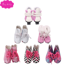 Dolls shoes High quality white ice Roller skates pink skateboard fit 18 inch Girl dolls and 43 cm baby s101