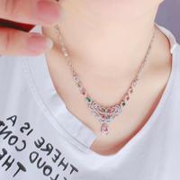 Hongkong designer latest design natural tourmaline necklace, multi color, 925 silver high end color treasure