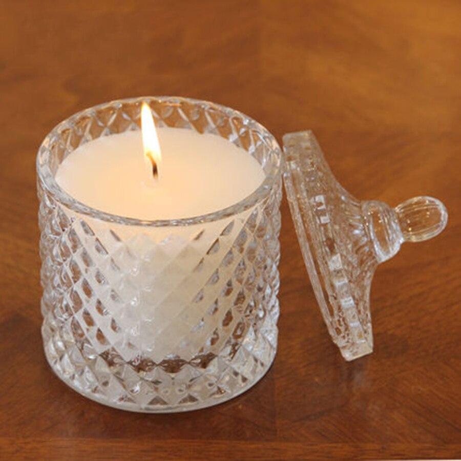 Bougies d'arome en verre sans fumée décoration bougie de cylindre de mariage outils généraux parfumés bougies de parfum maman hediyelik 50B1274