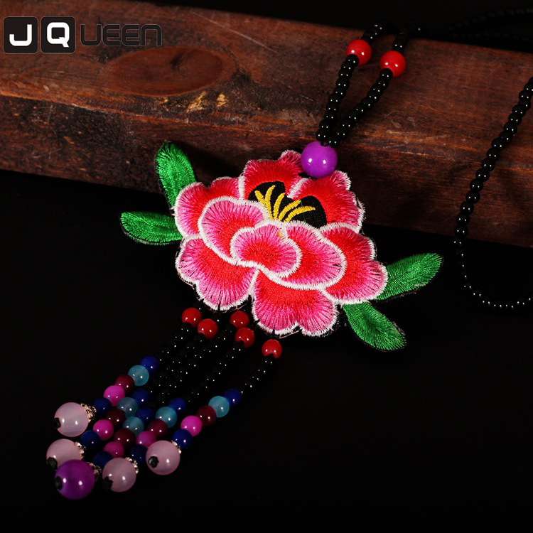 2017 3 Colors Ethnic Embroidery Necklace Embroidered Big Flower Choker Long Chain Statement Multicolor Beads Necklace For Women