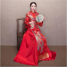 Double phoenix Cheongsam For Overseas Chinese Wedding ceremony Vestido de novia estilo chino vintage Traditional gown