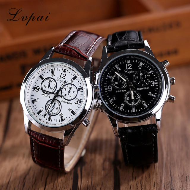 Mens Watches Top Brand Luxury Lvpai Casual Quartz Leather Band Watch Analog Wris