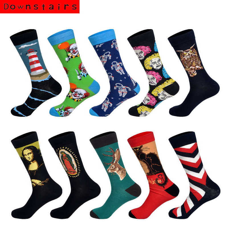 Downstaris 10Pairs/Lot New Arrived Hot Fashion Colored Designer Street Wear Hip Hop Art Socks Gifts For Men Happy Calcetines
