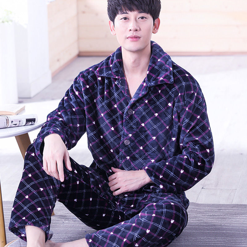 Pajamas Set Men Winter Warm Stripe Sleepwear Print Thick Flannel Pyjama Long Sleeve Pants V-Neck Shirt  Man Home Pjs