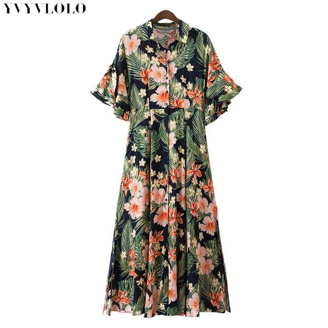 Мода 2017 цветочным принтом длинное платье-рубашка с отложным воротником короткий рукав Повседневное летние пляжные Платья для женщин миди Vestidos