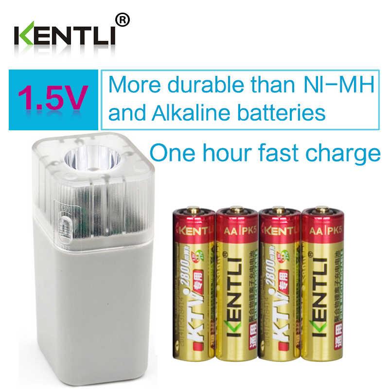 4 шт. KENTLI 1 5 в 2800mWh литий полимерная ионная аккумуляторная батарея АА + слота