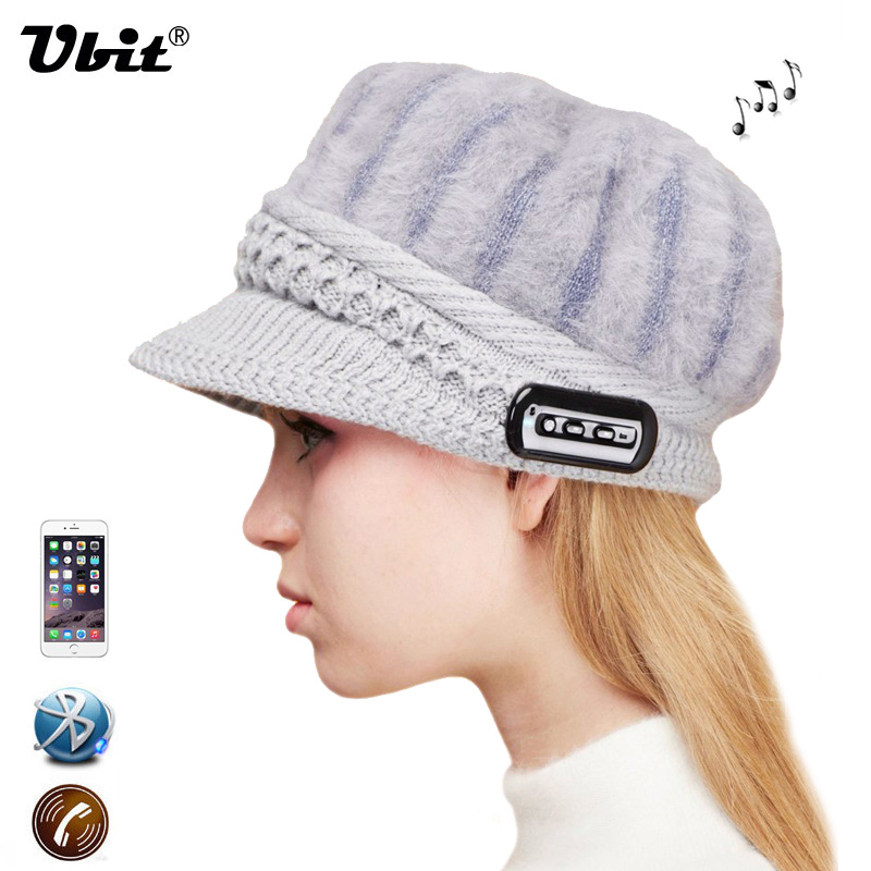 Ubit Bluetooth Music Wool Hat Wireless Hands free Headphone Mic Knit Lint Cap Phone Answer for IPhone6 6s  SmartPhone / Tablet 2017 foldable bluetooth headphone m100 headphone for smart phone with fitness monitor music streaming hands free calls