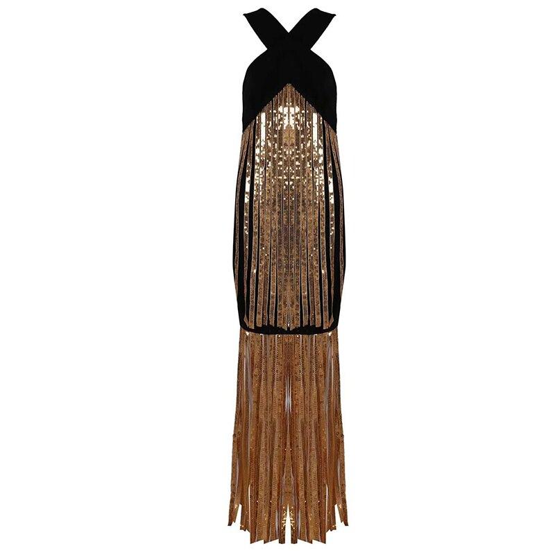 HIGH STREET New Fashion Runway 2018 Designer Party Dress Women's Halter Neck Tassel Sequined Dress sequined halter chain dress