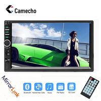 Camecho 2 din Autoradio Bluetooth Mirrorlink Car Stereo 7 HD MP5 Auto Multimedia Player Aux FM Input Receiver With Rear Camera