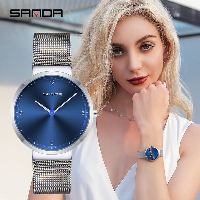 SANDA Women Watches Stainless Steel Mesh Strap Quartz Watch Women Fashion Simple
