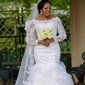 Плюс Размер Платья Невесты Сшитое Элегантный Русалка Свадебное Платье Бисером Кружевные Длинные Рукава Арабский Свадебные Платья noiva
