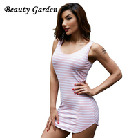Beauty Garden Sexy Women Dress Stripe Sports Hoddies Casual Halter Tops O Neck Mini Dress