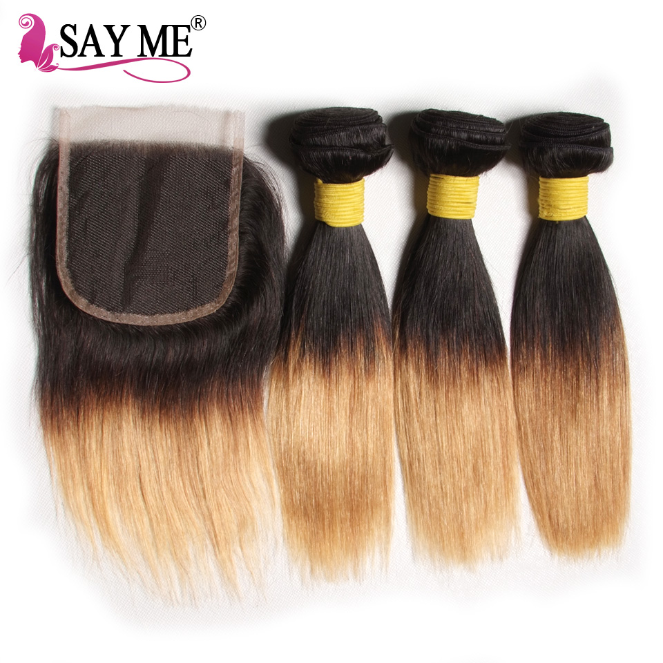SAY ME Ombre Brazilian Human Hair Bundles With Closure Two Tone Bob Straight Hair 3 Bundles With Closure Remy1B27 Hair Weave