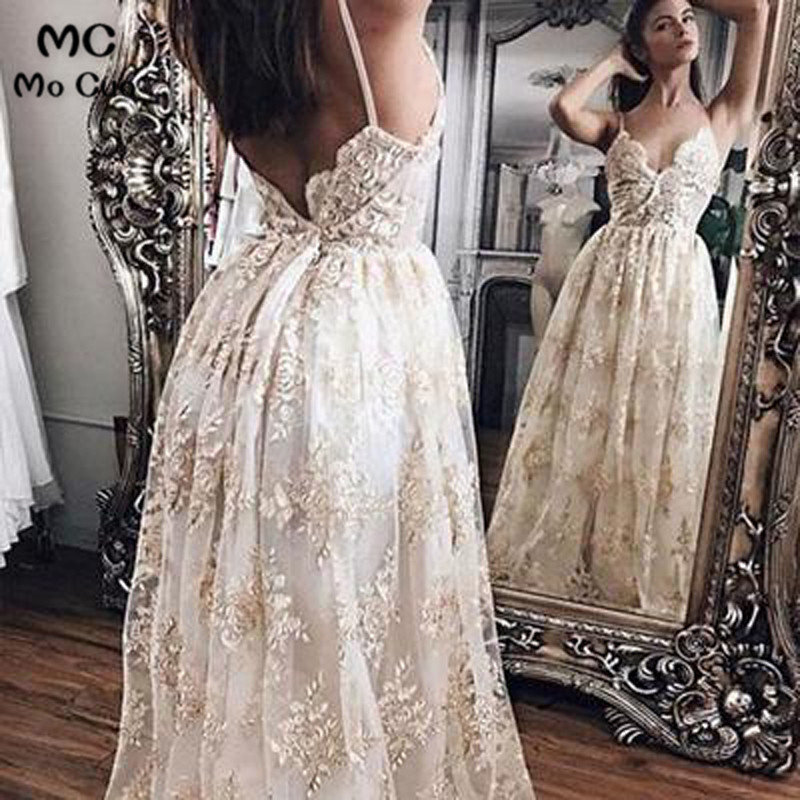 2018 A-Line Women's   Evening     Dresses   Deep V-Neck Appliques Spaghetti Straps Tulle Backless Formal   Evening   Party   Dresses   for Women