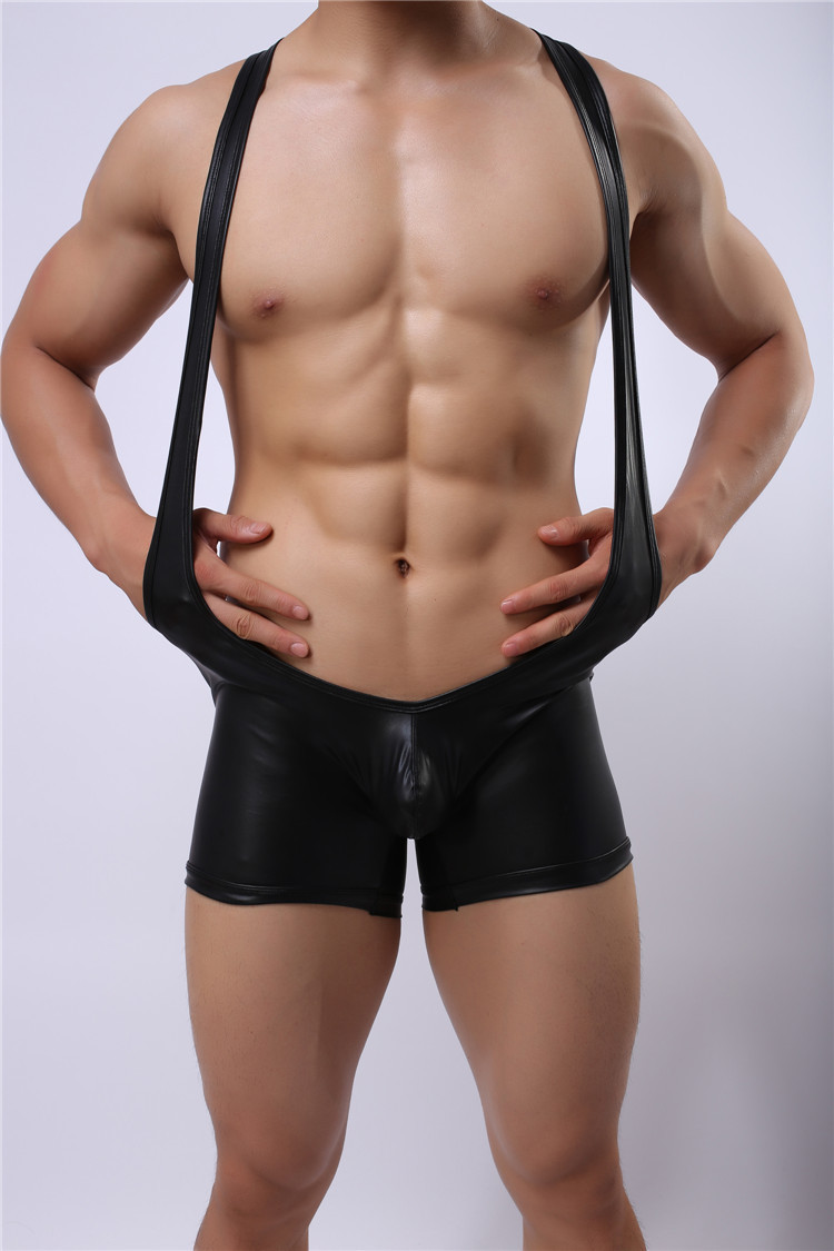 Sexy Lingerie Men Leather Boxer Halter Hollow Black Night Underwear