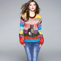 2018 frühling Europäischen American Style Hochwertigen Modedesign Casual Katze Stickerei Regenbogen Gestreiften Pullover Pullover