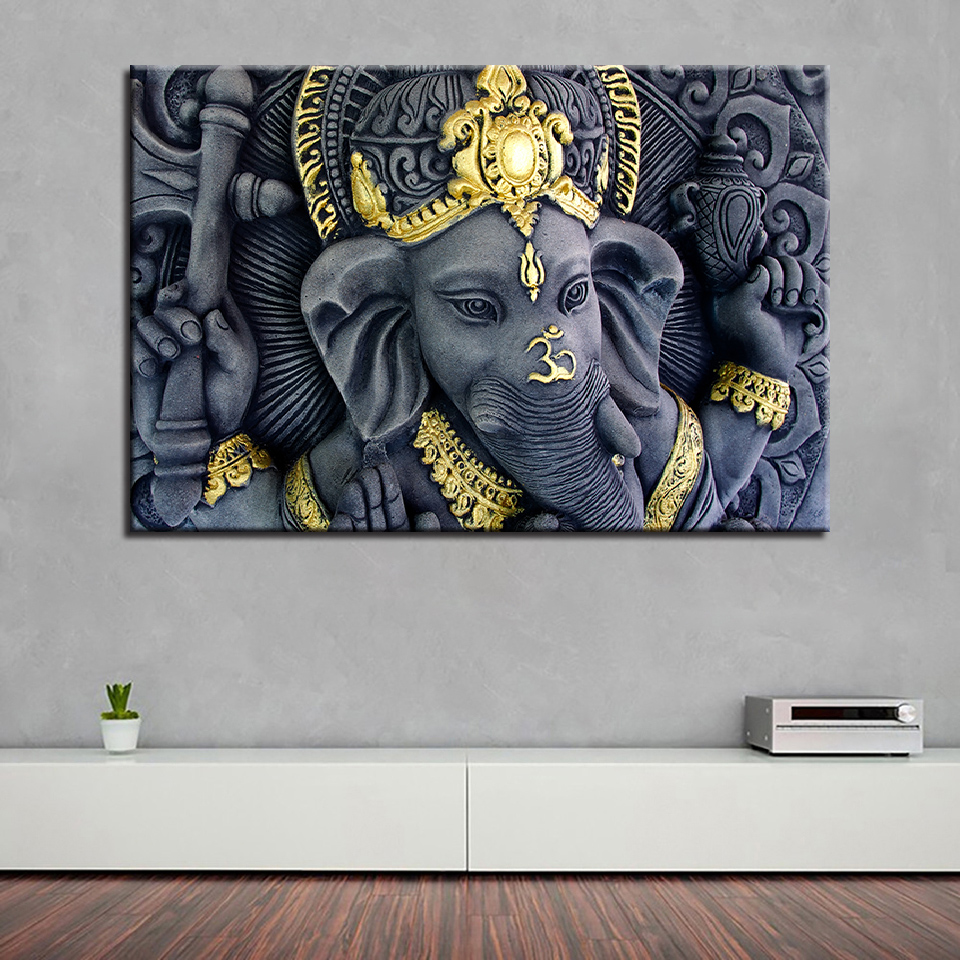 Us 8 79 40 Off Framework Living Room Wall Art Pictures Hd Printed 1 Panel India Elephant Modern Painting On Canvas Home Decoration Poster In