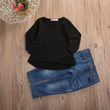 2017 2PCS Outfit Children Suit  Fashion Toddler Kids Clothing Set Baby Girls Solid Black Long T-shirt Tops + Jean Denim Pant