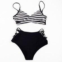 Split swimsuit fashion bikini woman high waist striped bra briefs beach holiday Europe hot 8088
