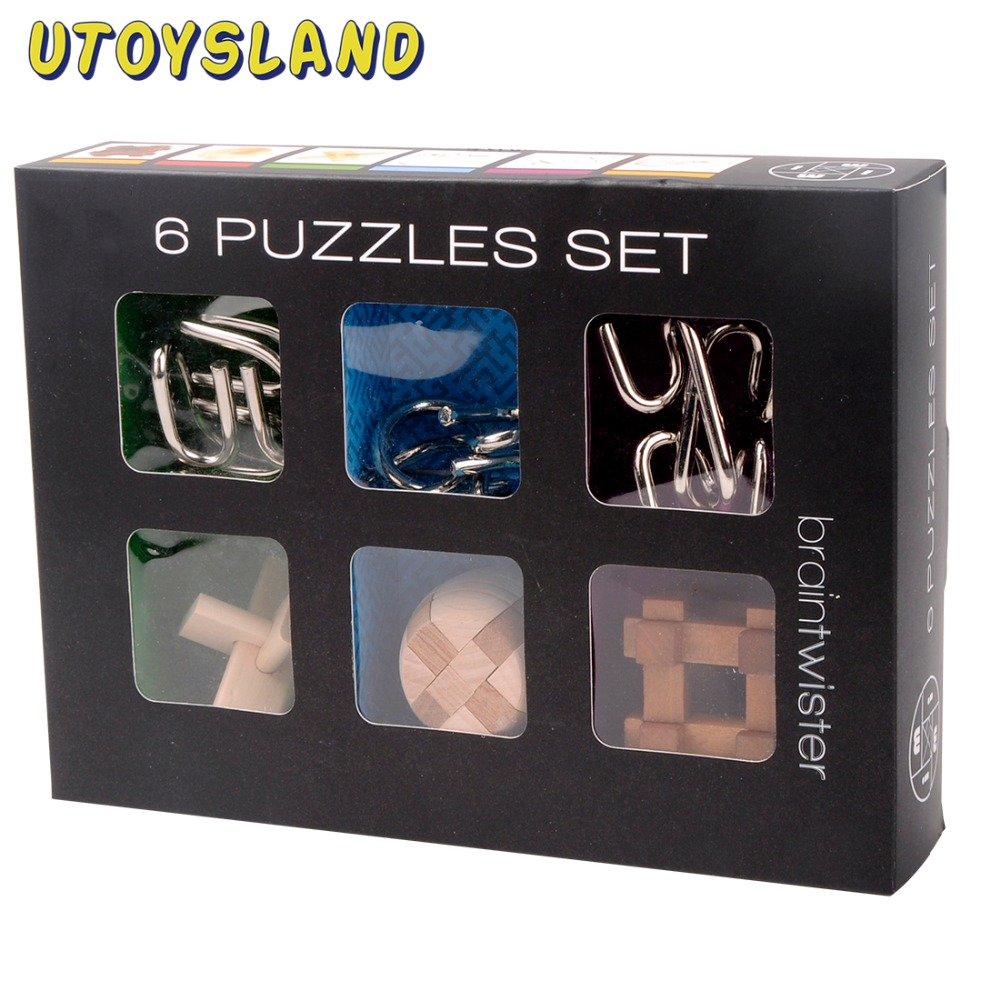 UTOYSLAND 6Pcs IQ Brain Teaser Set Metal Puzzle + Wooden Kong Ming Lock for Children Adults MT1142