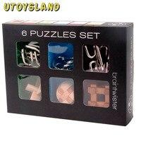 UTOYSLAND 6Pcs IQ Brain Teaser Set Metal Puzzle Wooden Kong Ming Lock For Children Adults MT1142