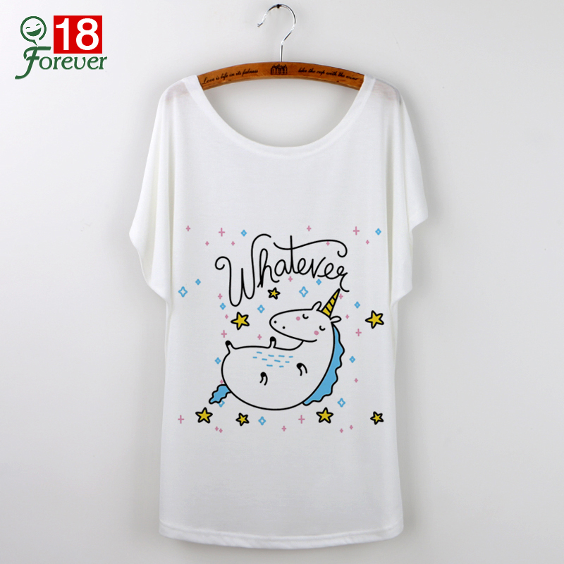 2018 T-Shirt Women top Short Sleeve TShirts O-Neck Causal Loose Cute Unicorn T Shirt female Summer Tops Women clothes White Tees