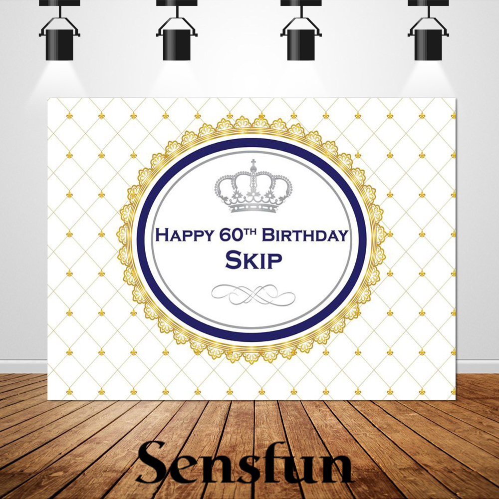 Sxy1543 Royal Princess Silver Crown Happy <font><b>60th</b></font> <font><b>Birthday</b></font> <font><b>Backdrop</b></font> Photography Background for Photo Studio Party Decoration Banner image