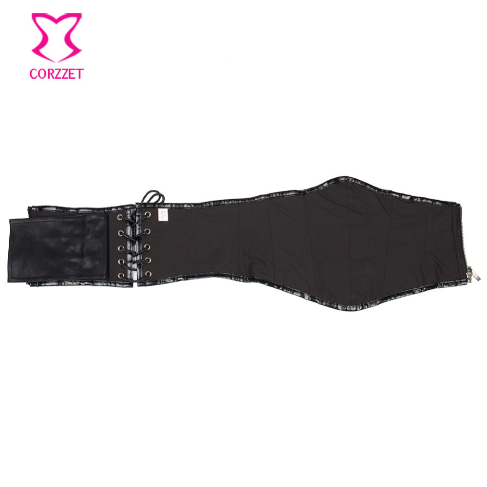 43669505a2 Retro Punk Black Faux Leather Corset Belt Gothic Military Wide Waist Belt Steampunk  Corset Zipper Belts For Women cinturon mujer-in Bustiers   Corsets from ...