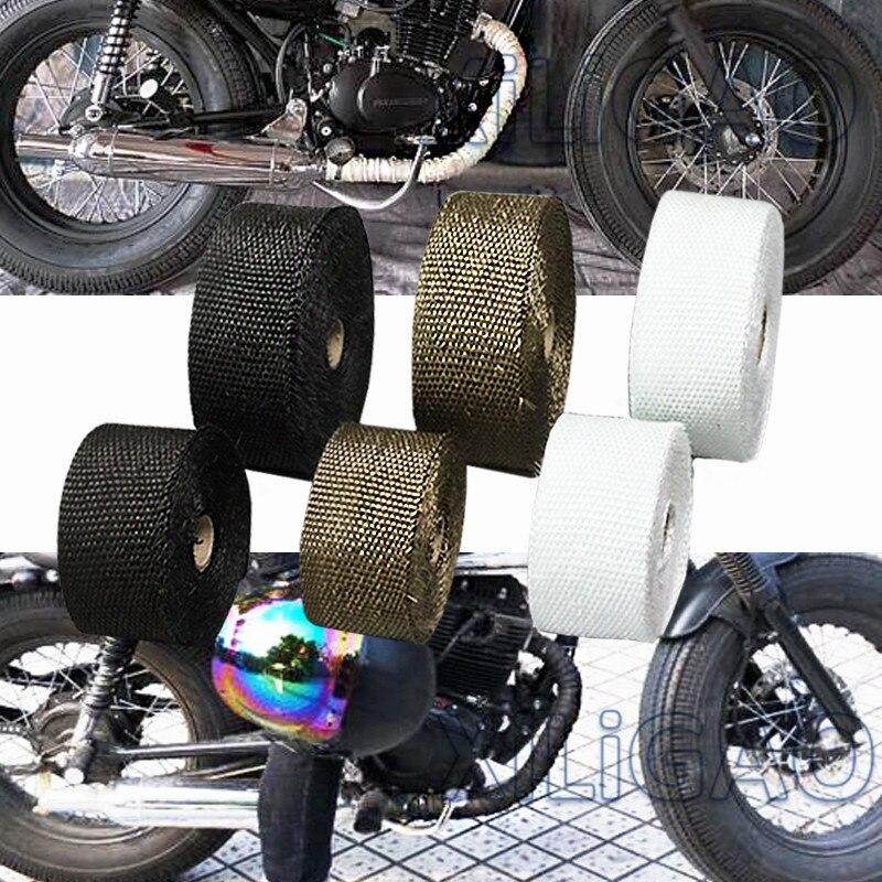 Livraison gratuite moto échappement thermique ruban d'échappement en-tête bandeau thermique résistant Downpipe pour moto voiture accessoires printemps