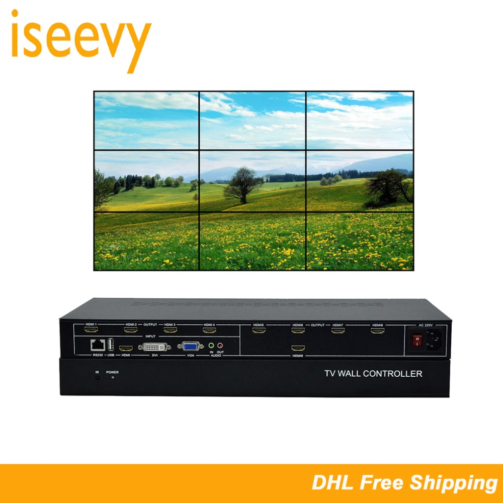 ISEEVY 9 Channel Video Wall Controller 3x3 2x4 HDMI DVI VGA USB Video Processor with RS232 Control for 9 TV SplicingISEEVY 9 Channel Video Wall Controller 3x3 2x4 HDMI DVI VGA USB Video Processor with RS232 Control for 9 TV Splicing