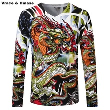 Chinese style individuality dragon pattern printing quality men sweater 2016 Autumn&Winter fashion pullover sweater men M-4XL