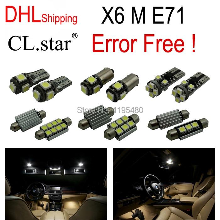DHL shipping 22pc X Canbus Error Free LED Interior Light Kit for BMW X6 E71 M xDrive35i xDrive50i Activehybrid (2008-2014) 2pcs 12v 31mm 36mm 39mm 41mm canbus led auto festoon light error free interior doom lamp car styling for volvo bmw audi benz
