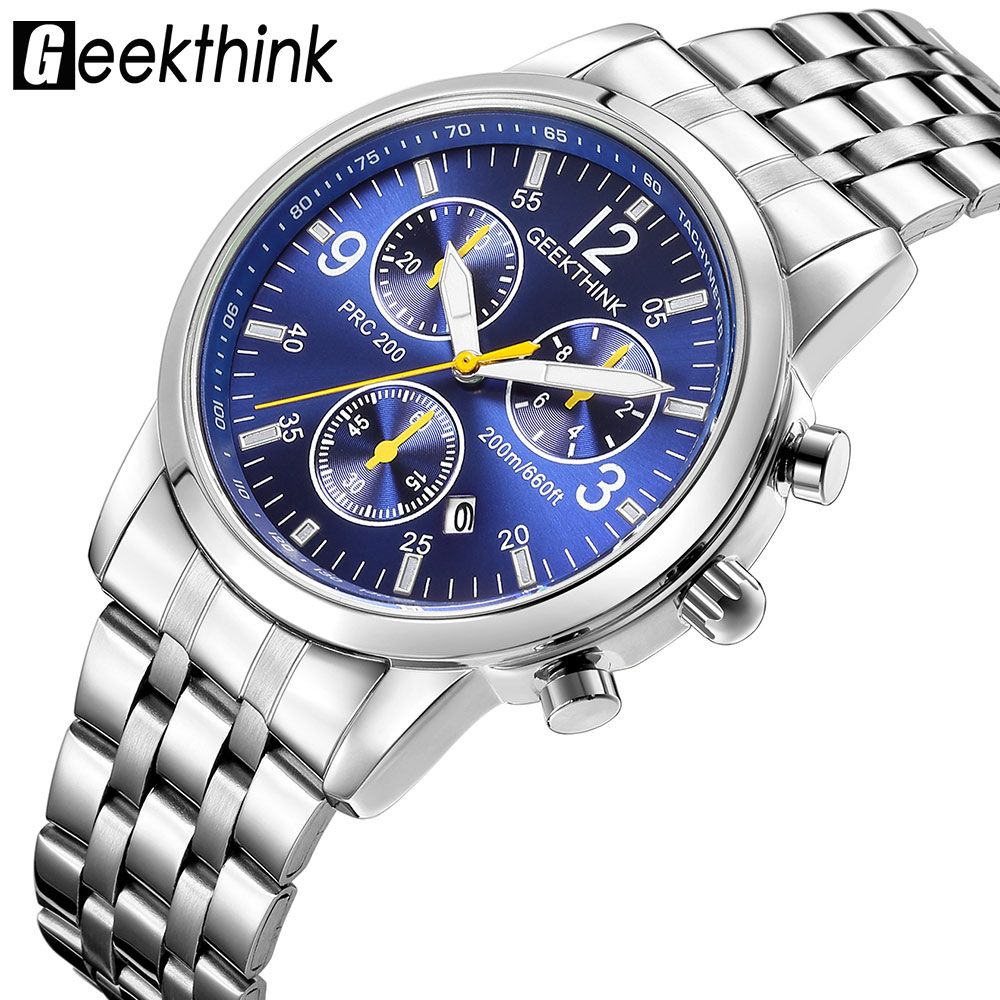 GEEKTHINK Top Brand Quartz Watches Men's Stainless steel Strap Classcic Fashion Clock Auto Date Male Relogio Masculino New
