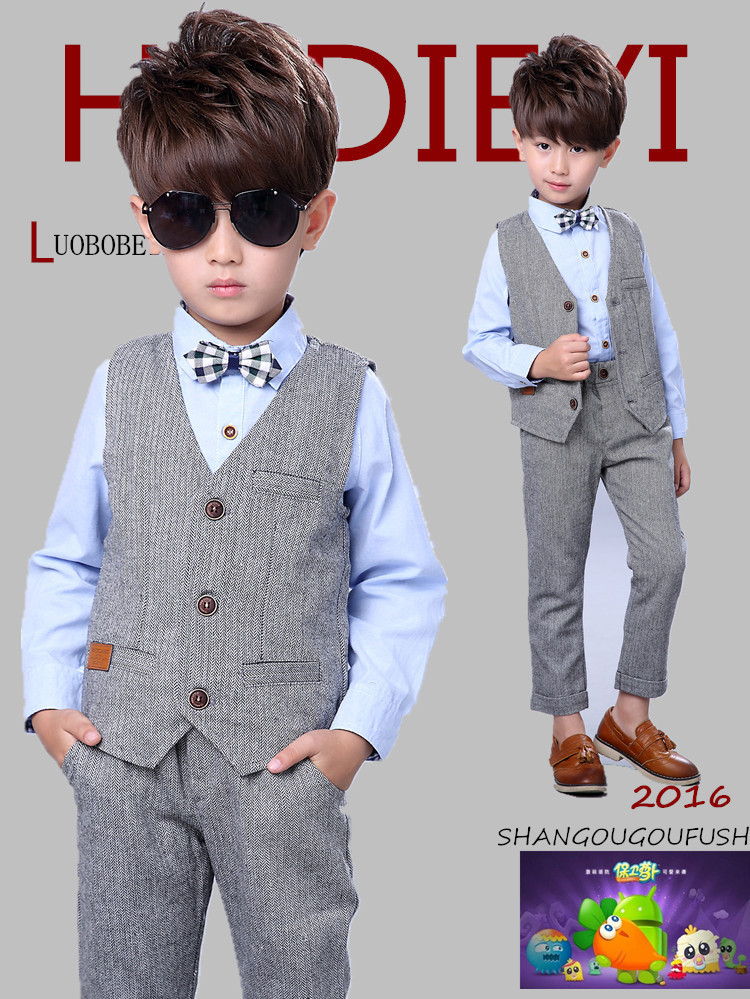 ef42991890a4 2018 formal gray Boys Blazer Suit Kids Cotton Vest+Pants Clothes Sets Boys  Formal Blazers for Weddings Party free shipping