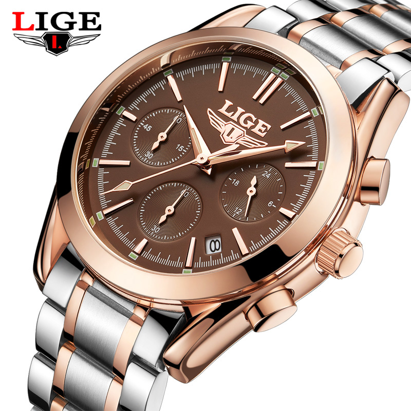 цены  New Fashion Mens Watches Top Brand Luxury LIGE Business Quartz Watch Men Waterproof Full Steel Clock Male Dress Wristwatches+box