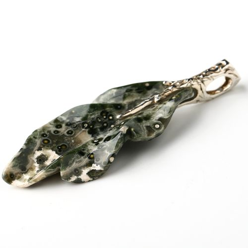 925 Sterling Silver Pendant!! Natural Stone Ocean Jasper Carved Leaf Shape individuality Jewelry
