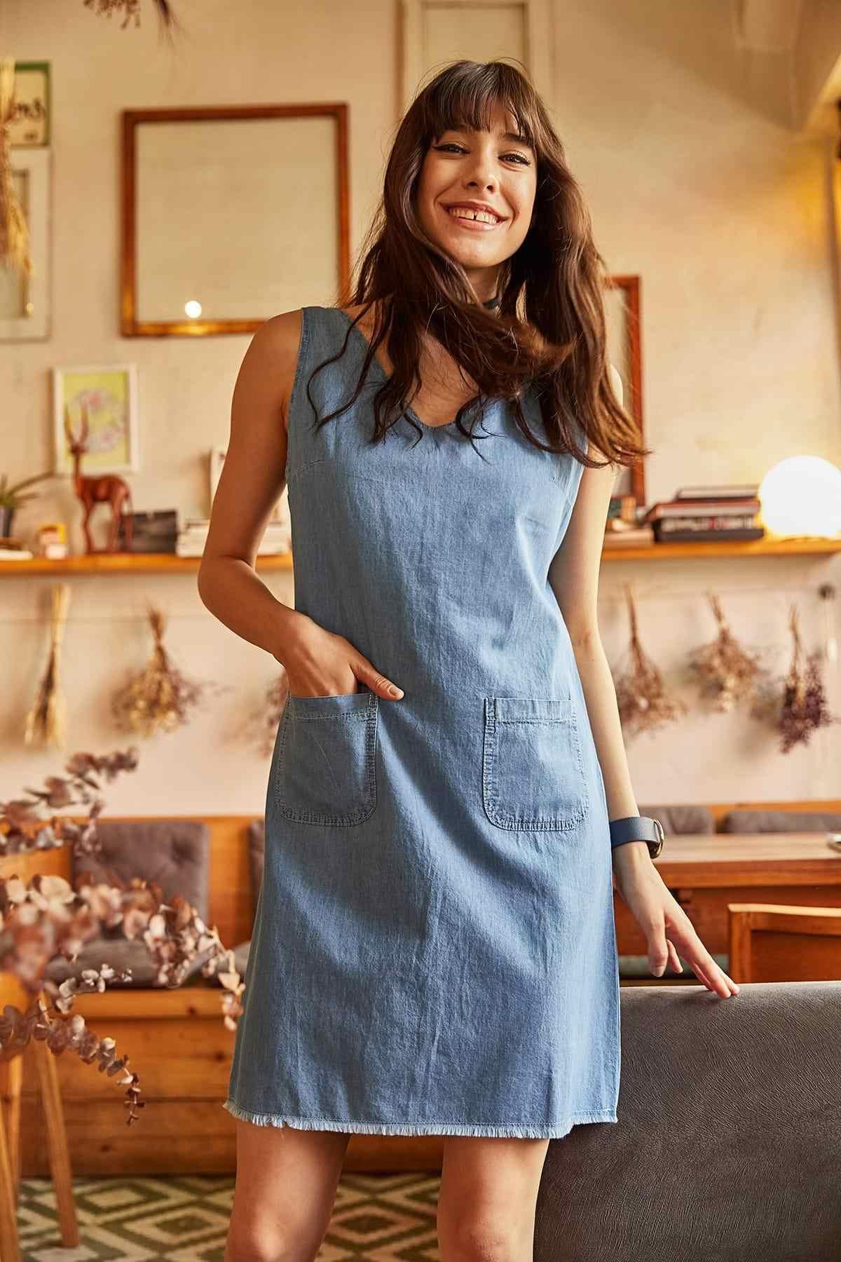 Ola женская синяя юбка на молнии с карманами сзади с кисточками джинсовое платье ELB-19000365