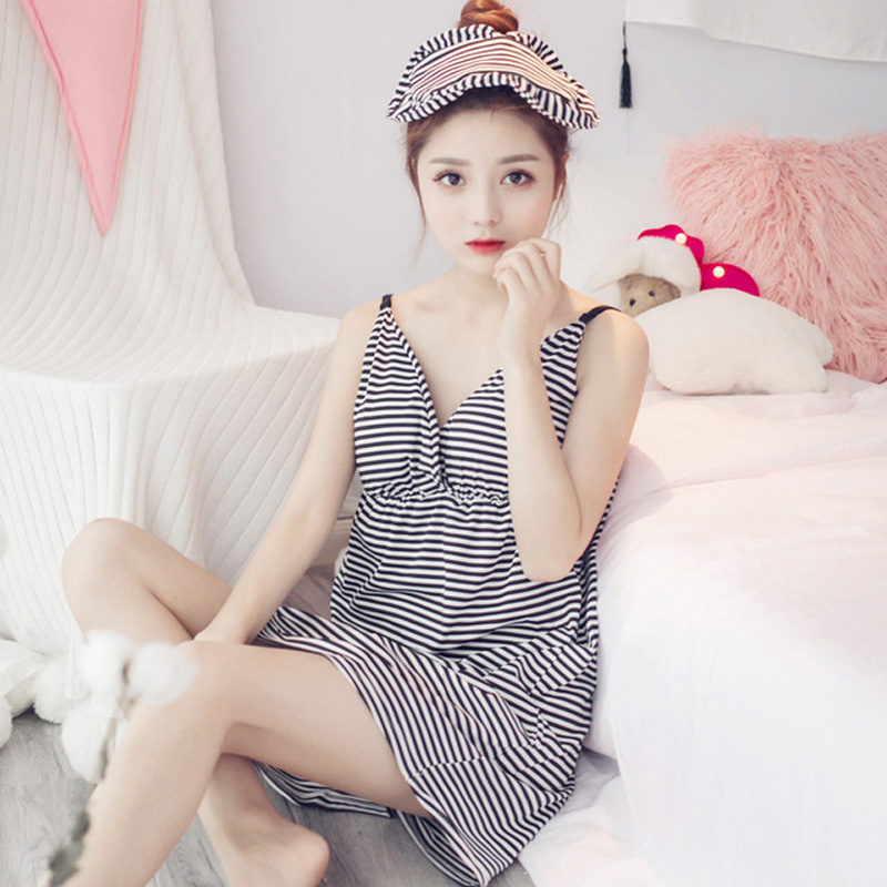 Yidanna Girl   Nightgowns   Milk Silk   Sleepshirt   Women Sleepwear Summer Robe Sexy Gown Striped Sleeveless Pyjama Feamle Mini nightie