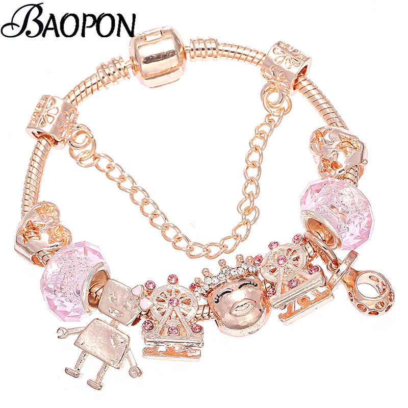 BAOPON Little Bella Pendants Charm Bracelet White Murano Beads Fits Fine Bracelet Women Engagement Party Jewelry Dropshipping