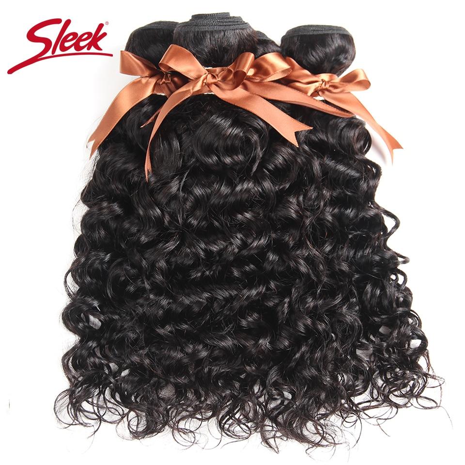 Sleek Brazilian Hair Weave Bundles Water Wave Hair 4 Bundle Deals Non Remy Human Hair Extensions