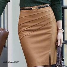 Женская короткая юбка карандаш, черная однотонная облегающая юбка карандаш с верблюжьим цветом, средней талией, большие размеры XXL