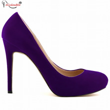 New Sexy Women Pumps Princess Elegant Thin Heel Shoes Spring Womens High Heels Platform Round Toe Purple Shoes Smynlk-0005j