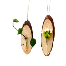 VILEAD 12.6 Wood Hanging Ornament With Hydroponic Vase Wooden Wall Decoration Figurines Creative Crafts Gift for Kids
