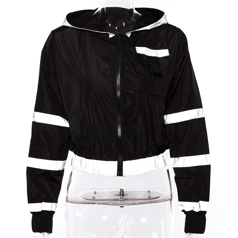 0996f1f41c1 Women autumn fall streetwear crop jacket fitness reflective hoodie jpg  800x800 Basic reflective jacket